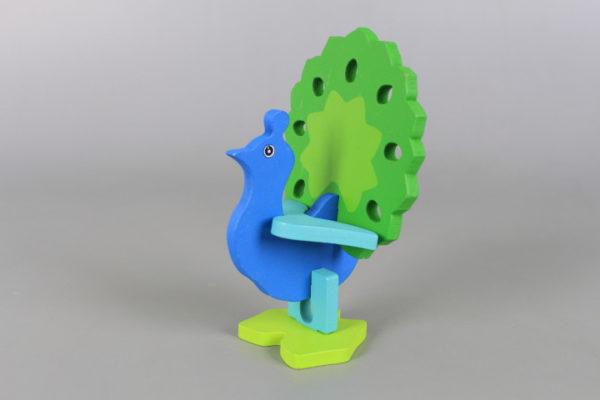 Дървен 3D пъзел Паун