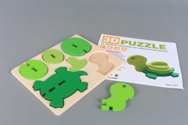 Дървен 3D пъзел Котенурка