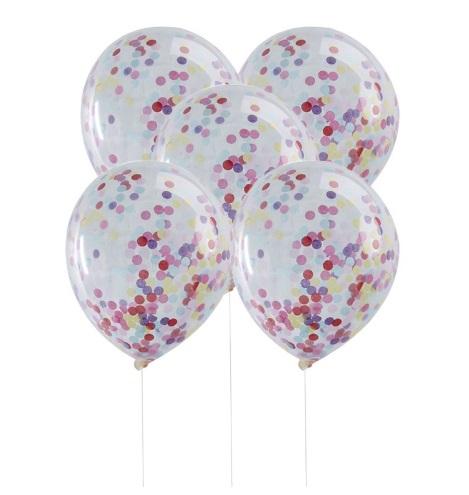 5 бр балони с цветни конфети