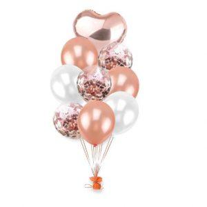 9 бр балони в розово бяло и фолиево сърце