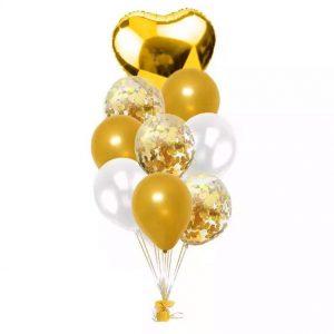 9 бр балони в златно бяло и фолиево сърце