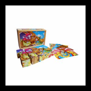 15 бр Дървени кубчета с приказни герои