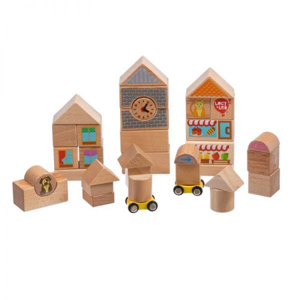 35 части дървени блокчета LUCY&LEO