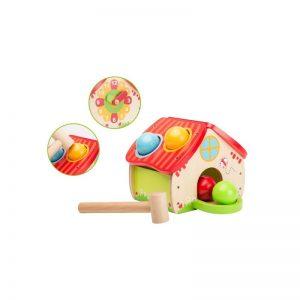 Дървена къщичка с чукче и топки