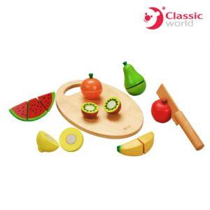 Детски дървен комплект за рязане - плодове